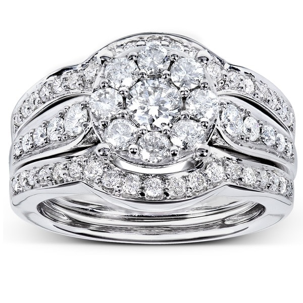 Annello by Kobelli 14k White Gold 1ct TDW 3-piece Diamond Bridal Rings Set (H-I, I1-I2)