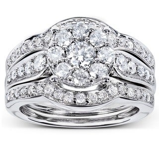 Annello by Kobelli 14k White Gold 1ct TDW 3-piece Diamond Bridal Rings Set