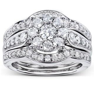 Annello by Kobelli 14k White Gold 1ct TDW 3-piece Diamond Bridal Rings Set