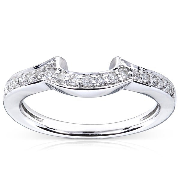Annello by Kobelli 14k White Gold 1/6ct TDW Diamond Curved Wedding Band (H-I, I1-I2)
