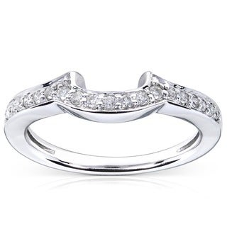 Annello by Kobelli 14k White Gold 1/6ct TDW Diamond Curved Wedding Band