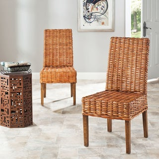 Safavieh Rural Woven Dining St. Thomas Indoor Wicker Honey Dining Chairs (Set of 2)
