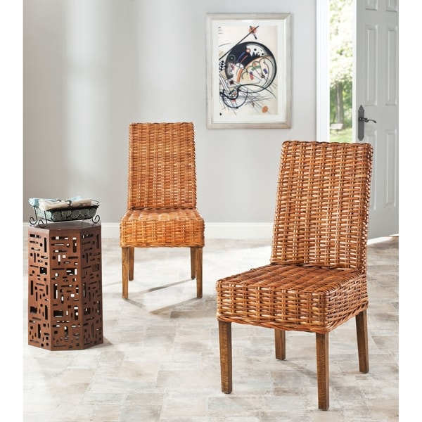 Safavieh Rural Woven Dining St. Thomas Indoor Wicker Honey Side Chairs (Set of 2)