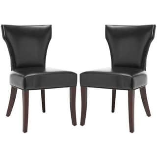 Safavieh En Vogue Dining Matty Black Bicast Leather Side Chairs (Set of 2)