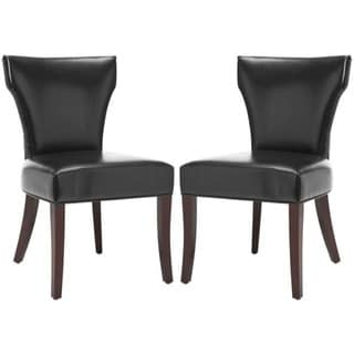 Safavieh En Vogue Dining Matty Black Bicast Leather Dining Chairs (Set of 2)
