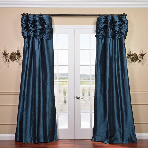 Exclusive Fabrics Ruched Header Mediterranean Solid Color Faux Silk Taffeta 84-inch Curtain Panel