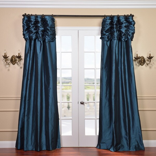 Exclusive Fabrics Ruched Header Mediterranean Solid Color Faux Silk Taffeta 96-inch Curtain Panel