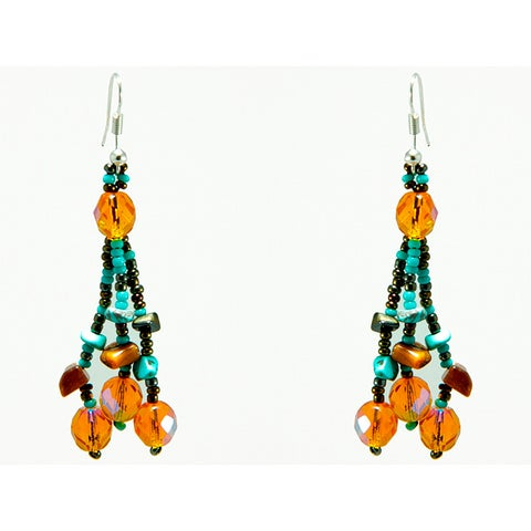 Handmade Luzy Turquoise Mocha Earrings (Guatemala)