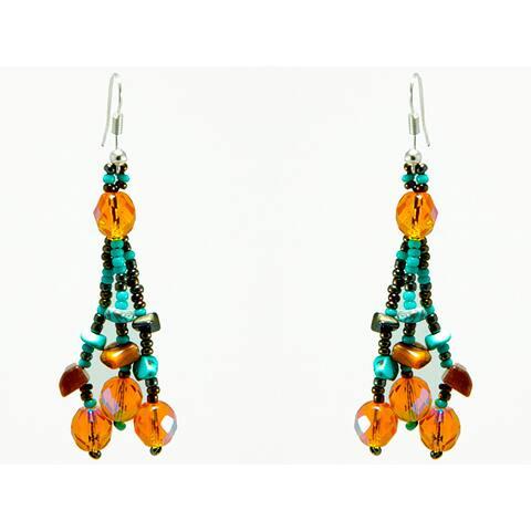 Handmade Luzy Turquoise Mocha Earrings (Guatemala)