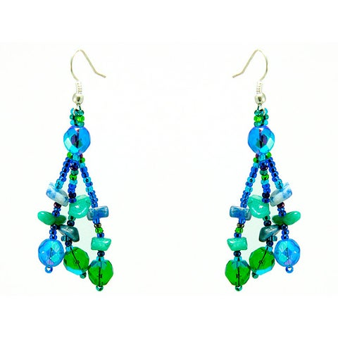 Handmade Earrings Luzy Blue and Green Handmade Earrings (Guatemala)