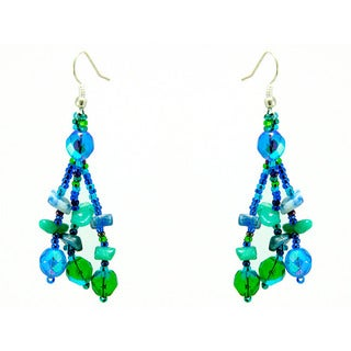 Earrings Luzy Blue and Green Handmade Earrings (Guatemala)