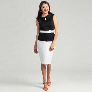 Tahari Women's Navy Fold Over Belted Skirt Suit