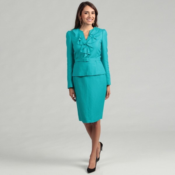 Tahari Women's Aqua Ruffle Belted Skirt Suit