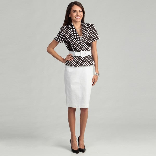 Tahari Women's Brown/ White Polka-dot Skirt Suit