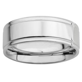 Mens Polished Stainless Steel Flat Grooved 8mm Band Ring