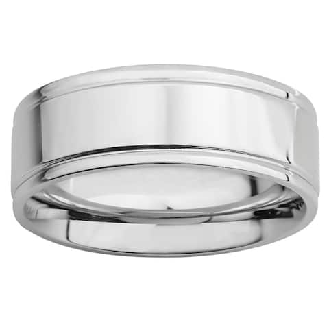 Polished Stainless Steel Flat Grooved Band Ring (8mm)