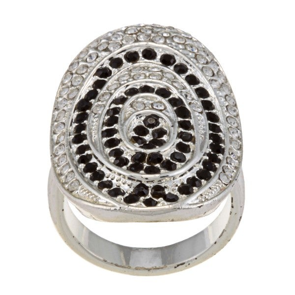 Silvertone Brass Black and Clear Crystal Pave Circle Ring