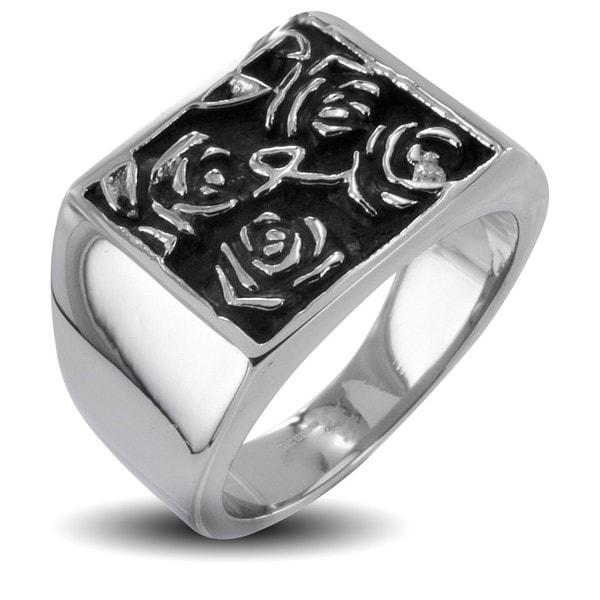 Stainless Steel Men's Hieroglyphic Flower Ring