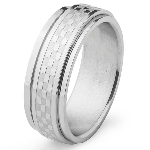 Stainless Steel Brushed and Polished Men's Checker Spinner Ring