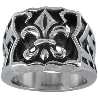 Stainless Steel Men's Large Fleur De Lis Ring