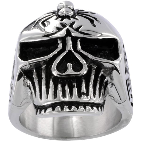 Stainless Steel Men's Large Skull and Spider Cross Ring