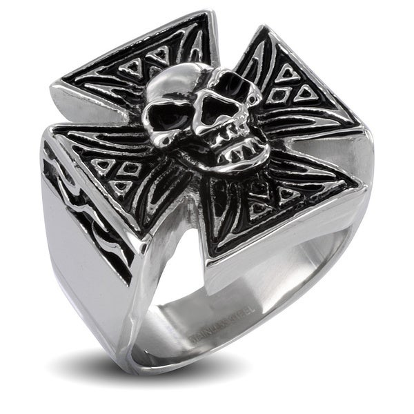 Men's Iron Cross with Skull Stainless Steel Ring