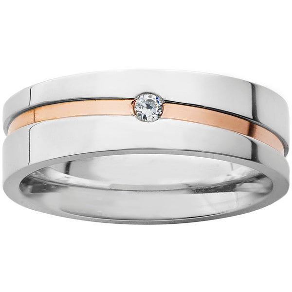 Stainless Steel Cubic Zirconia Men's Goldplated Stripe Wedding Band