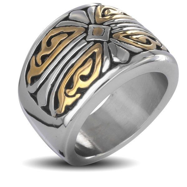 West Coast Jewelry Stainless Steel Men's Two-tone Royal Cross Ring