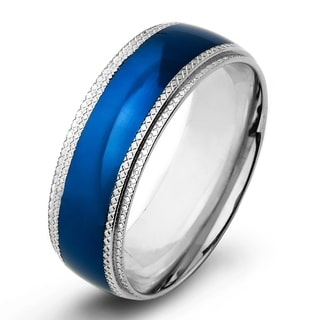 Men's Blue Plated Stainless Steel Ridged Edge Wedding Band (8mm wide)