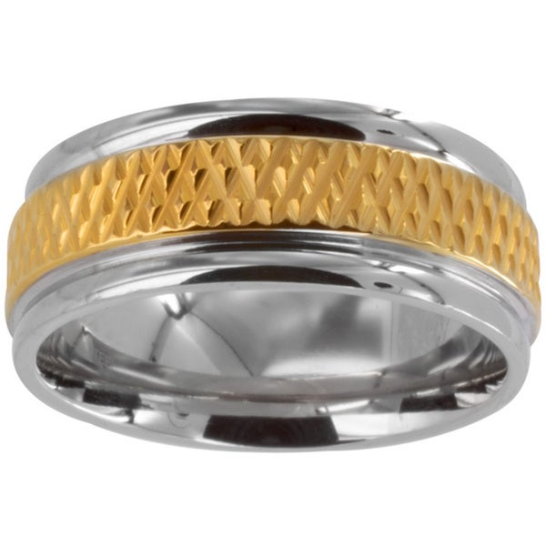 Polished Stainless Steel Men's Goldplated Grooved Center Wedding Band (8mm)