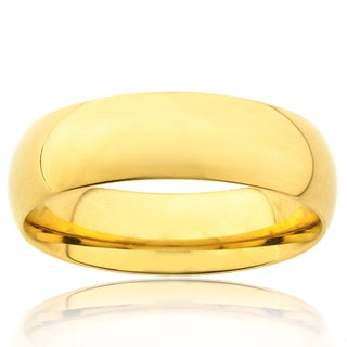 Stainless Steel Goldplated Wedding Band Ring (6mm) (4 options available)