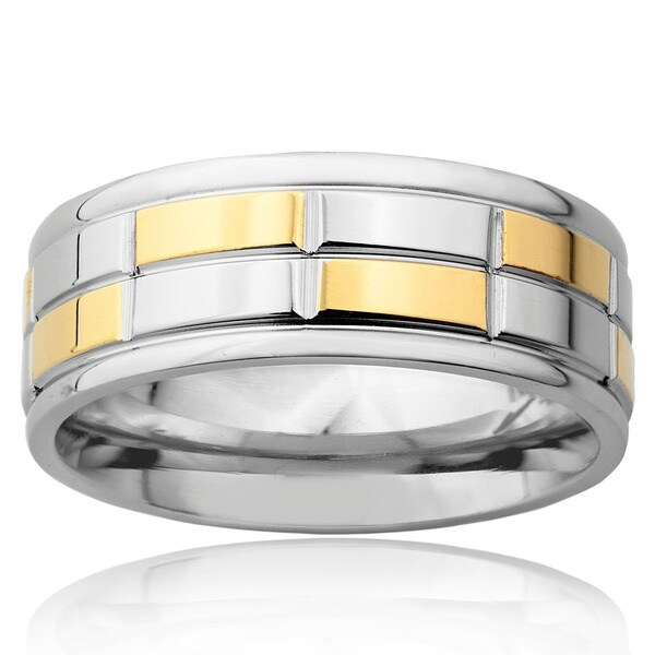 Stainless Steel Silver Goldplated Checker Wedding Band