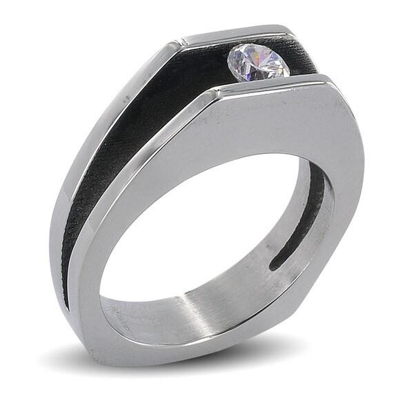 Stainless Steel Split Shank Floating Cubic Zirconia Ring