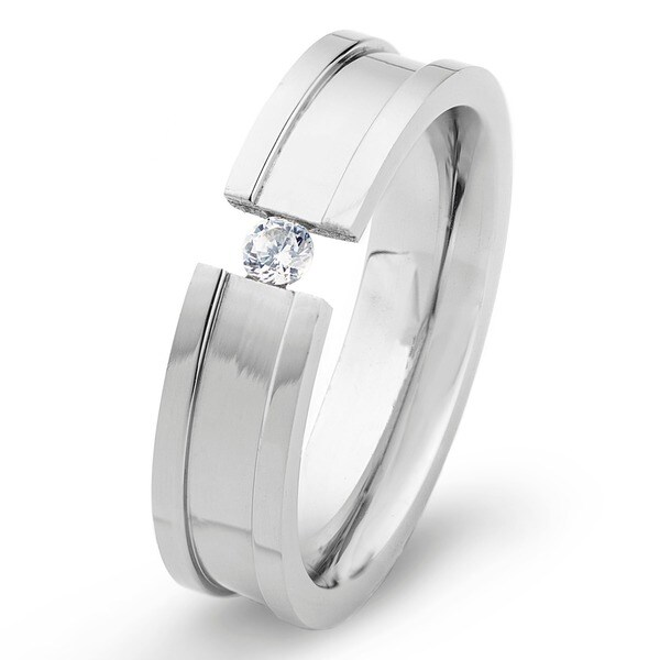 Stainless Steel Ring with Tension Set Cubic Zirconia Center - Silver