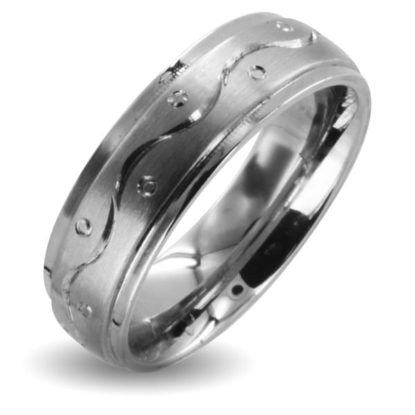 Stainless Steel Men's Weave and Dot Design Ring
