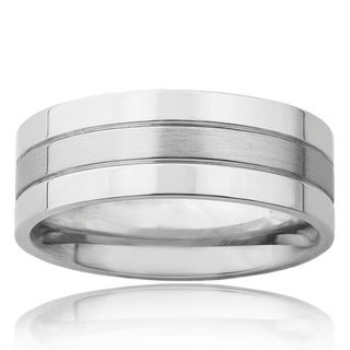 Polished Stainless Steel Men's Brushed Center Wedding Band