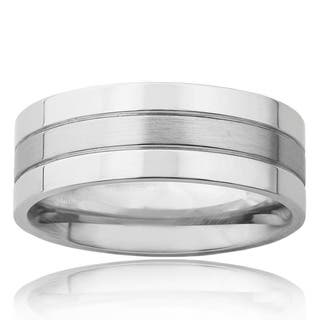 Polished Stainless Steel Men's Brushed Center Wedding Band|https://ak1.ostkcdn.com/images/products/6367849/P13984949.jpg?impolicy=medium