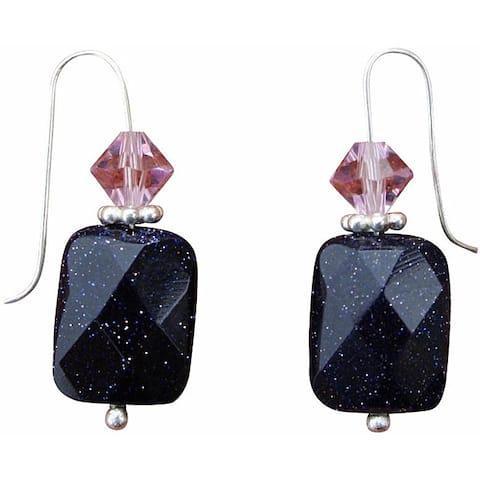 Handmade Beadwork By Julie Blue Goldstone and Crystal Earrings