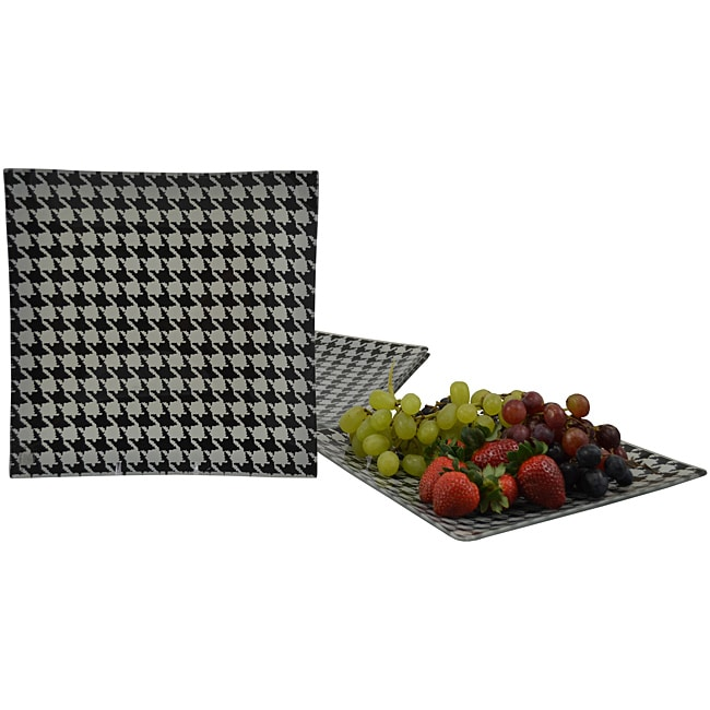 Menswear Tempered Glass 4-piece Dinner Plate Set