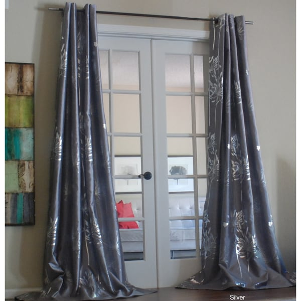 Lambrequin Liliana Grommet With Silver Metallic Pattern 96 inch Curtain Panel