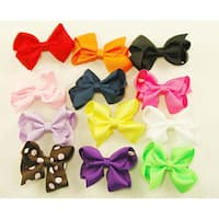 Assorted Mini Hair Clip Ribbon Bows (Pack of 12)