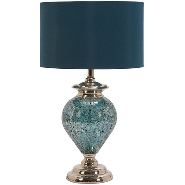 Gentil Casa Cortes Handcrafted Artisan Metal Mosaic Blue Table Lamp