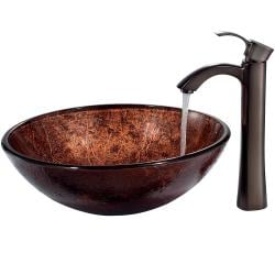 VIGO Mahogany Moon Glass Vessel Sink and Faucet Set in Oil Rubbed Bronze - Thumbnail 1