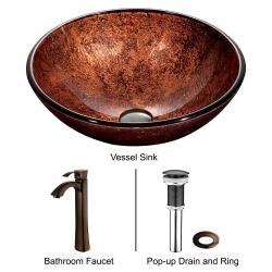 VIGO Mahogany Moon Glass Vessel Sink and Faucet Set in Oil Rubbed Bronze