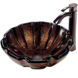 VIGO Walnut Shell Glass Vessel Sink and Faucet Set in Oil Rubbed Bronze