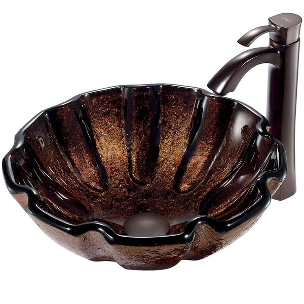 VIGO Walnut Shell Above Counter Glass Vessel Sink and Faucet Set in Oil Rubbed Bronze