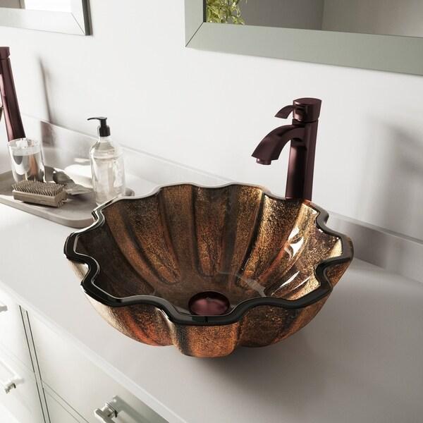 VIGO Walnut Shell Glass Vessel Bathroom Sink Set with Otis Faucet