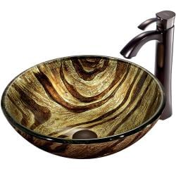 VIGO Zebra Glass Vessel Sink and Faucet Set in Oil Rubbed Bronze