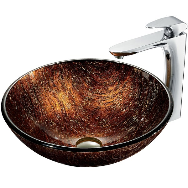 VIGO Kenyan Twilight VG07029 Glass Vessel Sink and Faucet Set in Chrome