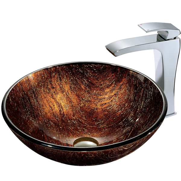 VIGO Kenyan Twilight Glass Vessel Sink and Faucet Set in Chrome